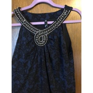 Dark blue floral tank with beaded/jeweled front